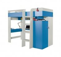 Vyvýšená posteľ s pc stolom a skriňou Adela - jaseň/modra