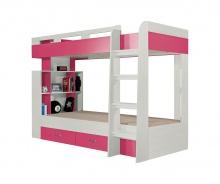 Poschodová posteľ Adela - jaseň/ružová