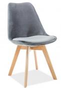 Jedálenská čalúnená stolička DIOR VELVET sivá/buk