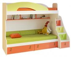 Detská poschodová posteľ Aurora II 90x200cm, ľavá - výber odtieňov