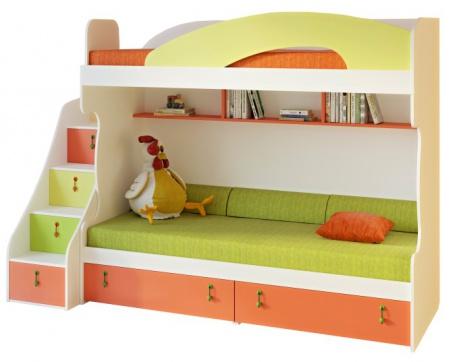 Detská poschodová posteľ Aurora II 90x200cm, pravá - výber odtieňov