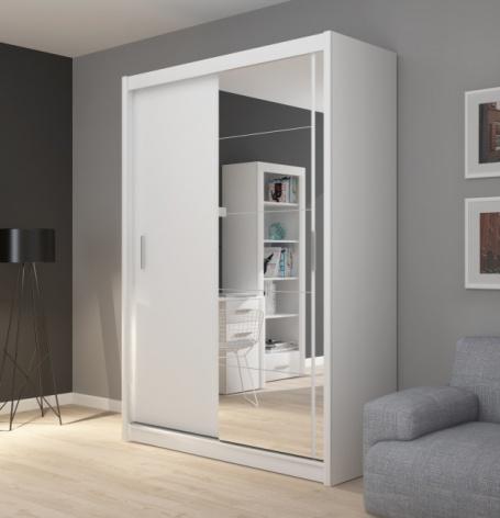 Šatníková skriňa Josette I s posuvnými dverami a zrkadlom-biela