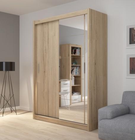 Šatníková skriňa Josette I s posuvnými dverami a zrkadlom-dub san remo