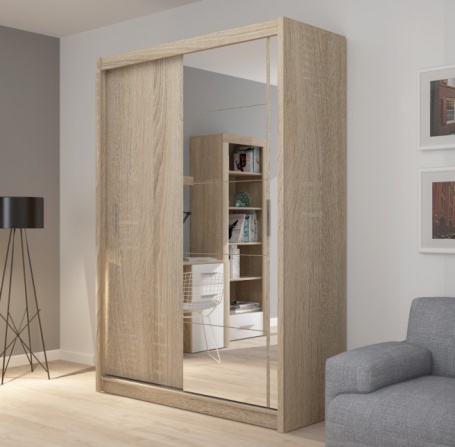 Šatníková skriňa Josette I s posuvnými dverami a zrkadlom-dub sonoma