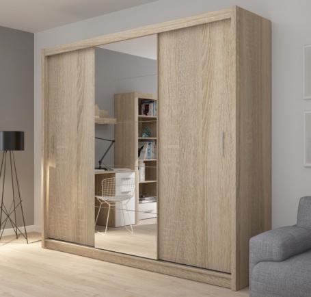 Šatníková skriňa Josette III s posuvnými dverami a zrkadlom-dub sonoma