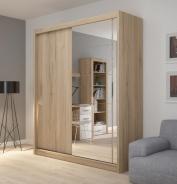 Šatníková skriňa Josette II s posuvnými dverami a zrkadlom-dub san remo