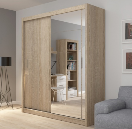 Šatníková skriňa Josette II s posuvnými dverami a zrkadlom-dub sonoma