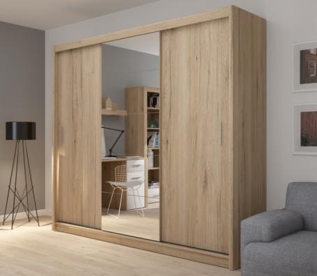 Šatníková skriňa Josette III s posuvnými dverami a zrkadlom-dub san remo