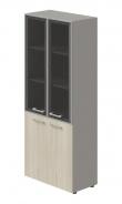 Kombinovaná skriňa Lorenc 4D - sivá / sklo / agát