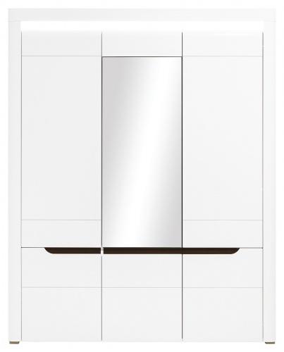 Trojdverová šatníková skriňa Irma so zrkadlom - biela / wenge