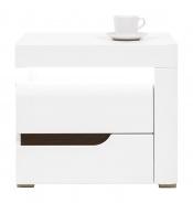 Nočný stolík Irma, pravý - biely / wenge