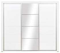 Šatníková skriňa Irma so zrkadlom a posuvnými dverami - biela