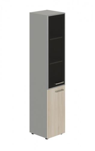 Skriňa kombinovaná Lorenc 2D ľavá - sivá/sklo/agát
