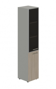 Skriňa kombinovaná Lorenc 2D ľavá - sivá/sklo/driftwood