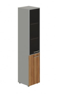 Skriňa kombinovaná Lorenc 2D ľavá - sivá/sklo/orech