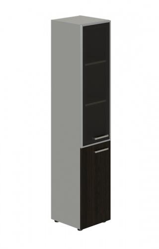 Skriňa kombinovaná Lorenc 2D ľavá - sivá/sklo/wenge