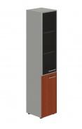 Skriňa kombinovaná Lorenc 2D ľavá - sivá/sklo/višňa