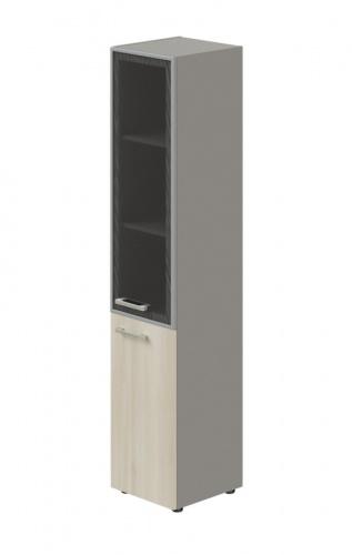 Skriňa kombinovaná Lorenc 2D pravá - sivá/sklo/agát