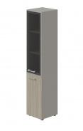 Skriňa kombinovaná Lorenc 2D pravá - sivá/sklo/driftwood
