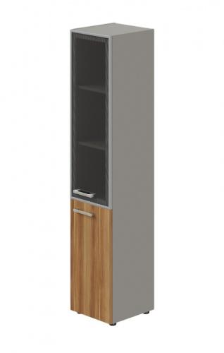 Skriňa kombinovaná Lorenc 2D pravá - sivá/sklo/orech