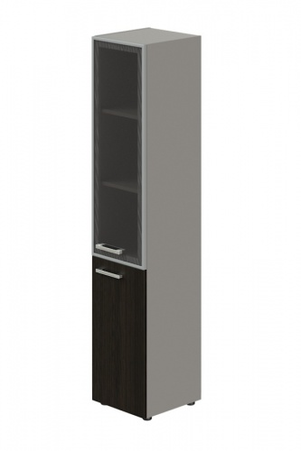 Skriňa kombinovaná Lorenc 2D pravá - sivá/sklo/wenge