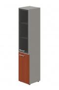 Skriňa kombinovaná Lorenc 2D pravá - sivá/sklo/višňa