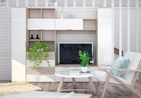 Obývacia stena TERRA I sonoma/biela lesk