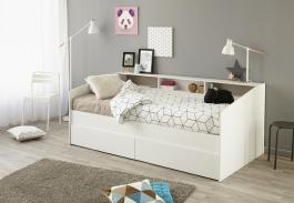 Detská posteľ Billie 90x200cm s úložným priestorom - biela