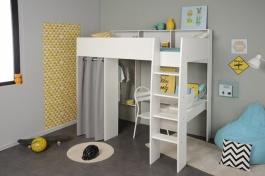 Vyvýšená posteľ Octavia so skriňou a písacím stolom - biela