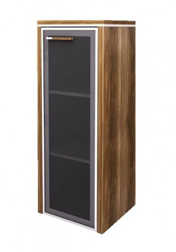 Skrinka Lorenc 123,3cm ľavá - orech / sklo