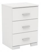 Nočný stolík Space so 3 zásuvkami-biela