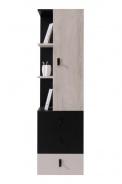 Regál nízky s šuflíky Saturn - čierny / béžový / dub