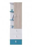 Regál nízky s šuflíky Saturn - modrý / biely / dub