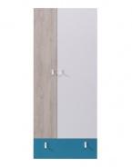 Skriňa šatníková študentská Saturn - modrá / biela / dub