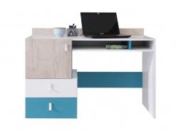 Študentský písací stôl Saturn - biela / modrá