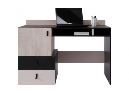 Študentský písací stôl Saturn - čierna / béžová