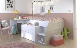Multifunkčná detská posteľ vyvýšená Evita - biela / sivá