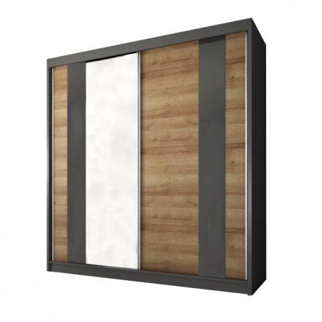 Skriňa s posuvnými dverami, dub riviéra zlaty / grafit, Manno 2D