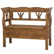 Drevená lavica s úložným priestorom HONEY - vosk - výber morenie