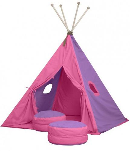 Textilný stan TEEPEE - ružová / fialová