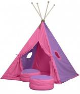 Veľký textilný stan TEEPEE 150x210cm - ružová / fialová
