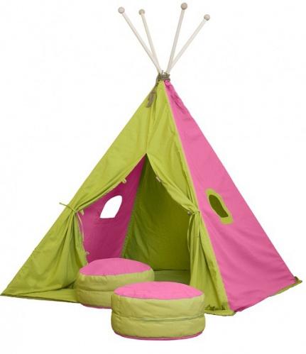 Textilný stan TEEPEE - ružová / zelená