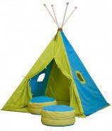 Veľký textilný stan TEEPEE 150x210cm - tyrkysová / zelená