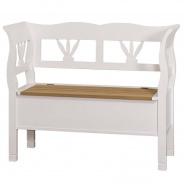 Drevená lavica s úložným priestorom HONEY, biela - dubové sedadlo - výber morenia sedadla
