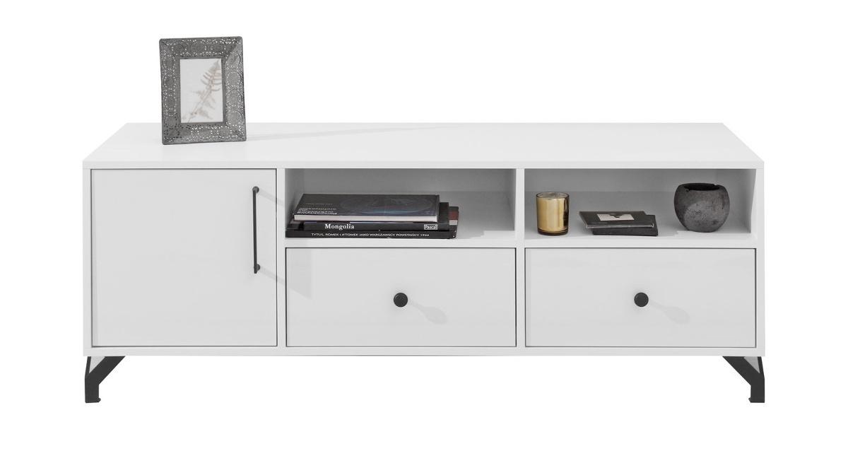 Televízny stolík bjorn, škandinávsky štýl - biela.    Televízny stolík Bjorn navyše disponuje pomerne veľkým množstvom úložného priestoru, kam môžete odložiť populárneherne konzoly, magazíny či rôzne dekorácie.